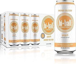 Hiball Peach Energy Seltzer, Zero Sugar and Calorie, 16 Fl Oz Cans, 8 Count