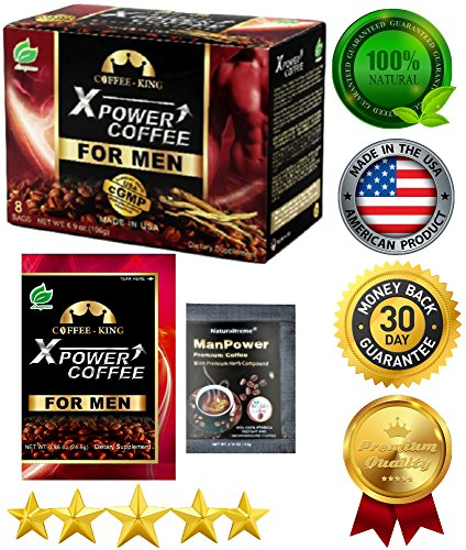 PureGano XPower For Men Instant Coffee - 100% Natural Male Enhancement - 1 Box (8 Packs Total) + 2 Bonus Samples - 24.5g Tongkat Ali - Maca - American Ginseng - Prostaep