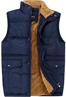 Men's Winter Warm Outdoor Padded Puffer Vest Thick Fleece Lined Sleeveless Jacket