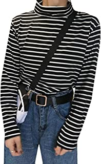 Alion Womens Long Sleeve Turtleneck Stretch Comfy Basic T Shirt Striped Top