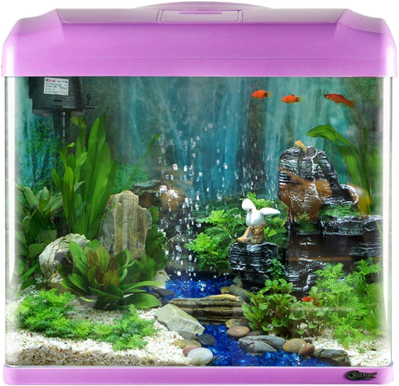 FEOOWV Aquarium Ecological Creative Fish Tank Mini LED Landscape Fishes Tanks (Purple)