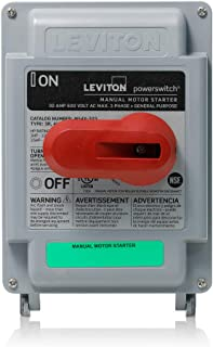 Leviton MS4X-303 30 Amp, 600 VAC, 3-Pole, Non-Fused Manual Motor Starter, Suitable as Motor Disconnect, Type 4X Thermoplastic Enclosure, IP67-Watertight