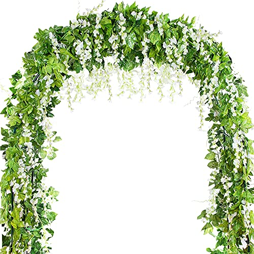 5pcs 7.2ft/Piece Artificial Flowers Silk Wisteria Garland Artificial Wisteria Vine Ivy Leaves Garland Artificial Hanging Plants Fake Vines for Wedding Garland Arch Floral Party Decor (White)