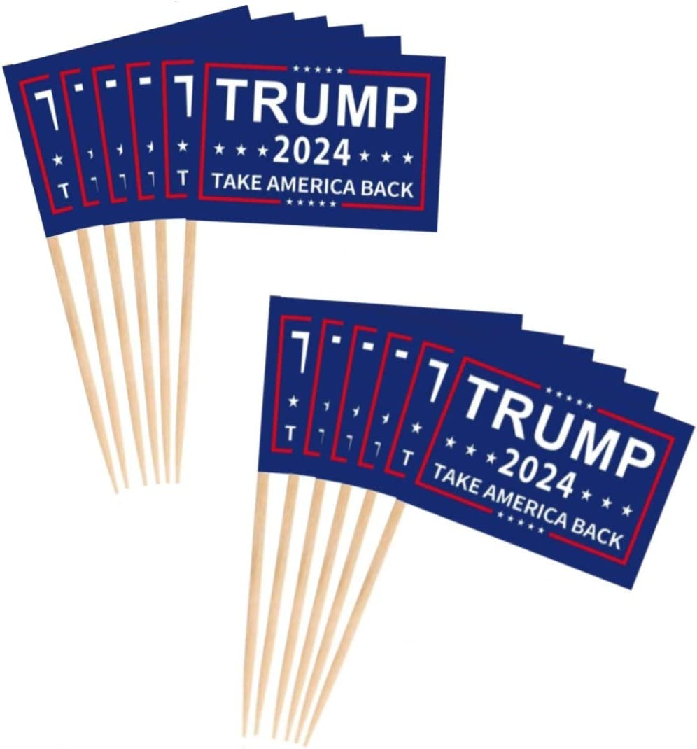 JAVD 100 Pcs Donald Trump 2024 Flag Trump Toothpick Flag Reelect President USA Donald Trump Fruit Toothpick Flags,for US Election Day Celebration Event Party,Birthday Wedding Dinner Decorations