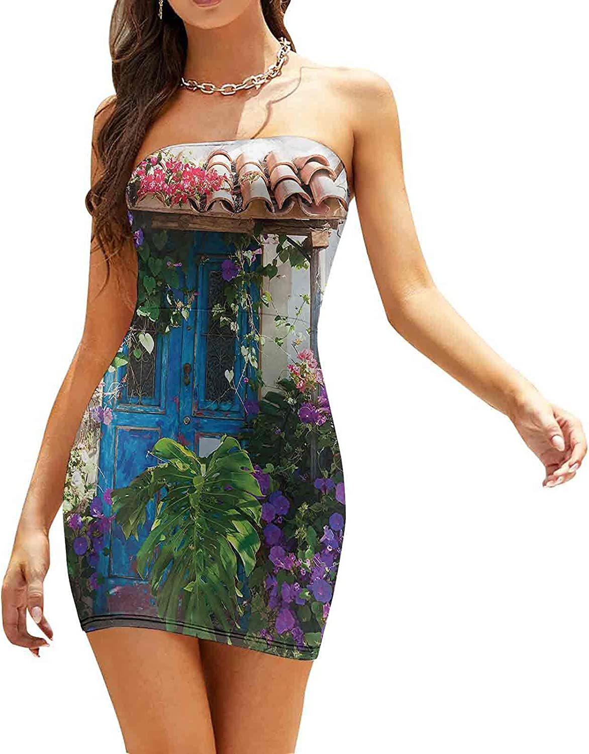 Women's Summer Strapless Dresses Country Timber Fence Dresses