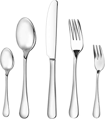 Silverware Set, McoMce 20 -Piece Silverware, Flatware Set with Stainless Steel, Flatware Include Knives, Forks and Spoons in Japanese Style Packaging, Suitable for Dinner, Camping, Working Meal