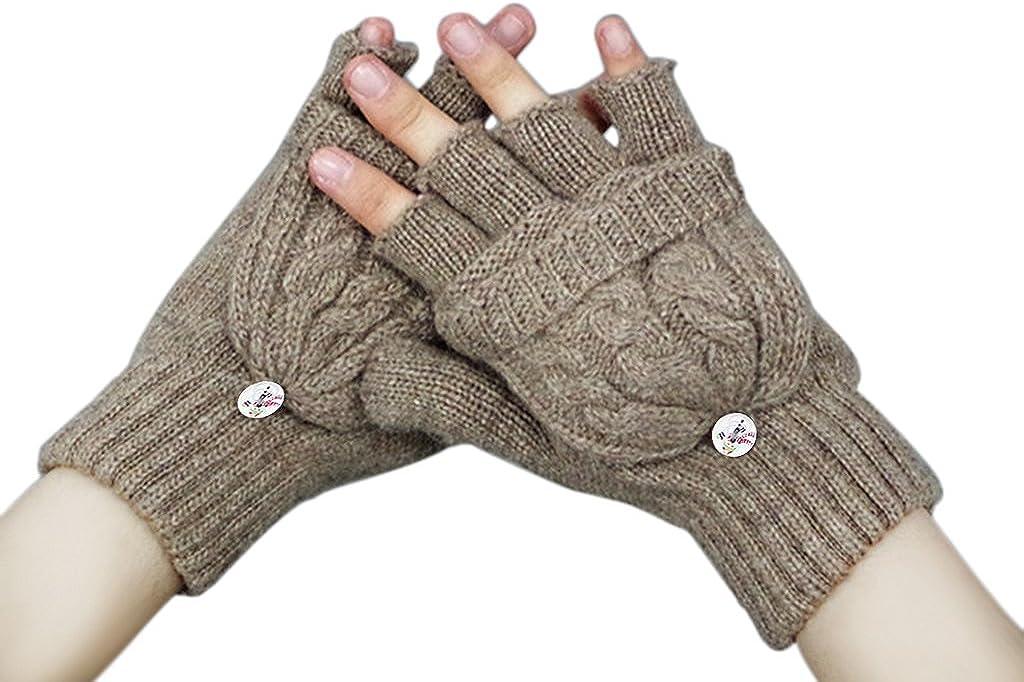 Womens Girls Winter Warm Wool Knit Fingerless Convertible Gloves w/ Mitten Cover