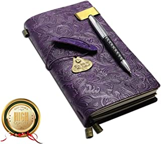 Refillable Handmade Traveler's Notebook, Leather Travel Journal Vintage Notebook with Ballpoint Pen for Men & Women, Perfect for Writing, Gifts, Travelers, Standard Size 8.5