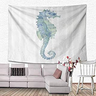 Animal Decor Tapestry Home Decorations Profile Picture of a Seahorse in Paintbrush Watercolor with Haze Effects Bedroom Home Decor 59