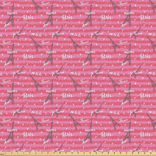 ABAKUHAUS Eiffel Stof per strekkende meter, Valentines Day Geïnspireerd, Stretch Gebreide Stof voor Kleding Naaien en Kunstnijverheid, 10 m, Roze Wit Zwart