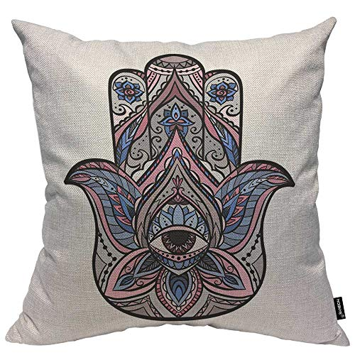 HOSNYE Hand Throw Pillow Cushion Covers Colored of Hamsa with Boho Pattern Decorative Square Accent Pillow Case 18 x18 inch
