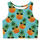 ALISISTER Crop Tops for Women Funny Pineapple Workout 90S Tank T Shirt Sleeveless Gym Racerback Yoga Novelty Activewear Summer Hawaiian Camisole Clothes Round Neck Blue M