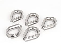"""X-Dr Stainless Steel 10mm 3/8"""" Standard Wire Rope Cable Thimbles Silver Tone 5 Pcs (58dae30e-a222-11e9-8d7c-4cedfbbbda4e)"""