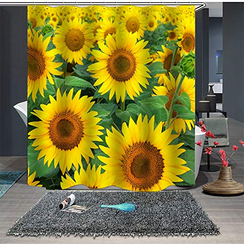 Maxwelly Sonnenblumen-Duschvorhang mit natürlichen Blumen, Badezimmer-Duschvorhang mit Haken für Heimdekoration, Polyester, wasserdicht, 183 x 183 cm