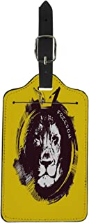 Tinmun Luggage Tag Face Lion Head on Yellow Tattoo Africa Animal Black Suitcase Baggage Label Travel Tag Labels