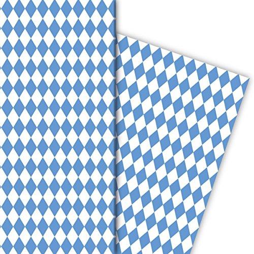Kartenkaufrausch Bayrisches Geschenkpapier Set mit Rauten Muster für tolle Geschenk Verpackung, Designpapier, scrapbooking, 4 Bogen, 32 x 48cm, in blau