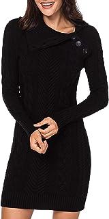 Aleumdr - Vestito da donna, lavorato a maglia, con bottone, medio, lungo, maglione caldo, taglie S-XL