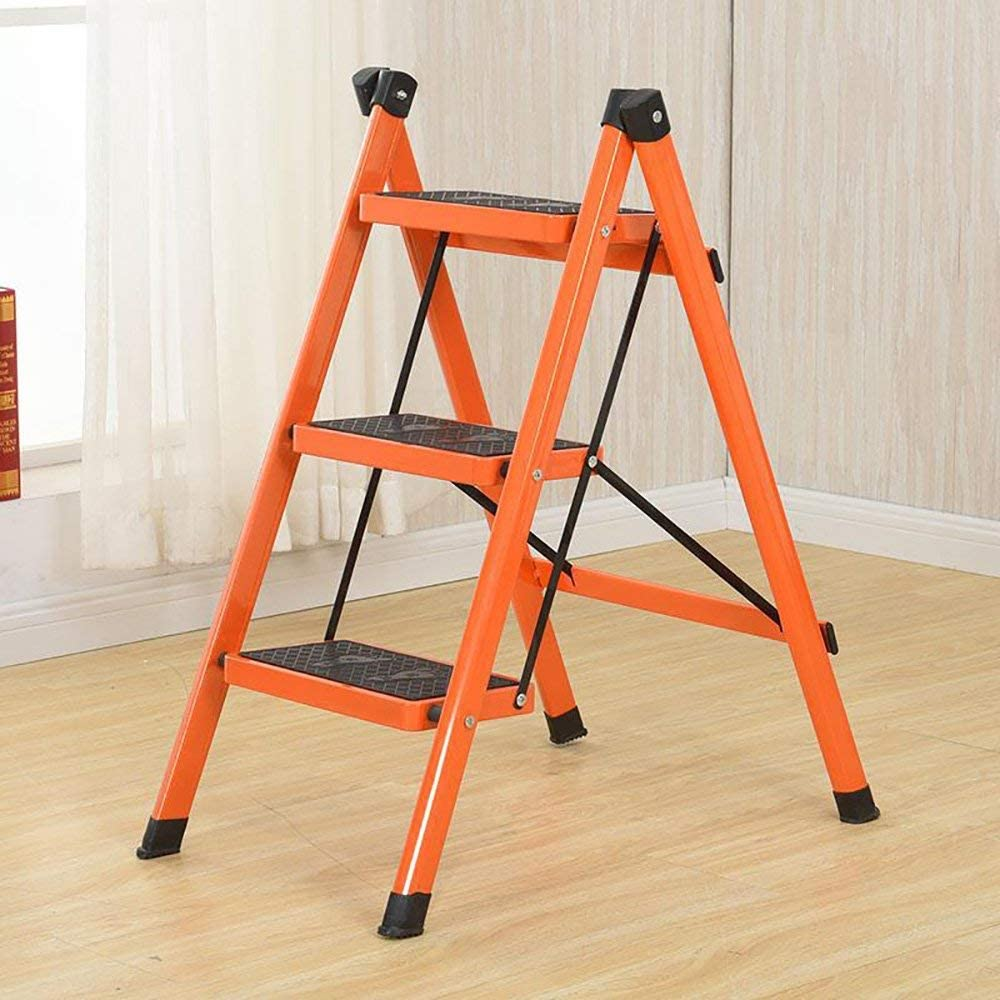 XXHDEE Escalier matériau épais Chaise d'escalier Cuisine Chambre intérieur Multi-Fonction échelle de Contraction des ménages 40x70x82CM Bleu Escabeau (Color : Orange) Orange