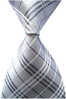 Men's Classic Checks Silver Jacquard Woven Silk Tie Formal Necktie