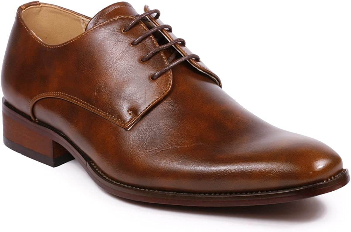 Metrocharm MC111 Lace Up Oxford Classic Dress Shoes (7, Brown)