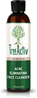 TreeActiv Acne Eliminating Face Cleanser | Cystic Acne Treatment Face Wash, Sulfur, Charcoal, Vitamin C, Peppermint Oil | Men, Women & Teens | Oily, Dry & Sensitive Skin | 8 fl oz