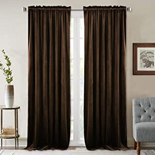 StangH Blackout Velvet Brown Drapes - Living Room Large Curtains Energy Efficient Heat Blocking Drapes with Dual Rod Pocket, Chestnut, 52 by 96 Inches, 2 Panels
