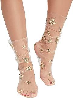 Calcetín De Malla Suave Star Glitter Star Para Mujer Calcetines Transparentes Para Mujer Calcetines Transparentes Elásticos