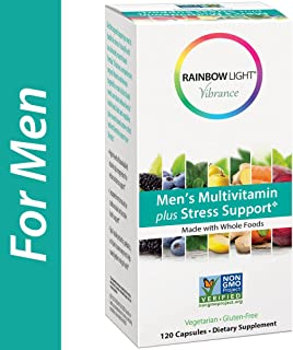 Rainbow Light Vibrance Men's Multivitamin Plus Stress Support, Dietary Supplement Made with Whole Foods, Supports Healthy Stress Response, Fortifies the Immune System,120 Count Capsules