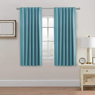 H.VERSAILTEX Extra Blackout Curtain Panels, Insulated Thermal Curtains for Bedroom, 63-inch Curtain Panels Pair - Back Tab/Rod Pocket Drapes for Living Room (Solid Aqua)
