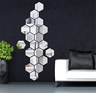 3D Mirror Wall Stickers Acrylic Tiles, 12PCS Hexagon Mirror Art DIY Home Decorative Hexagonal Wall Sheet Plastic Mirror for Home Living Room Bedroom Sofa TV Background Wall Decal Decoration Deco