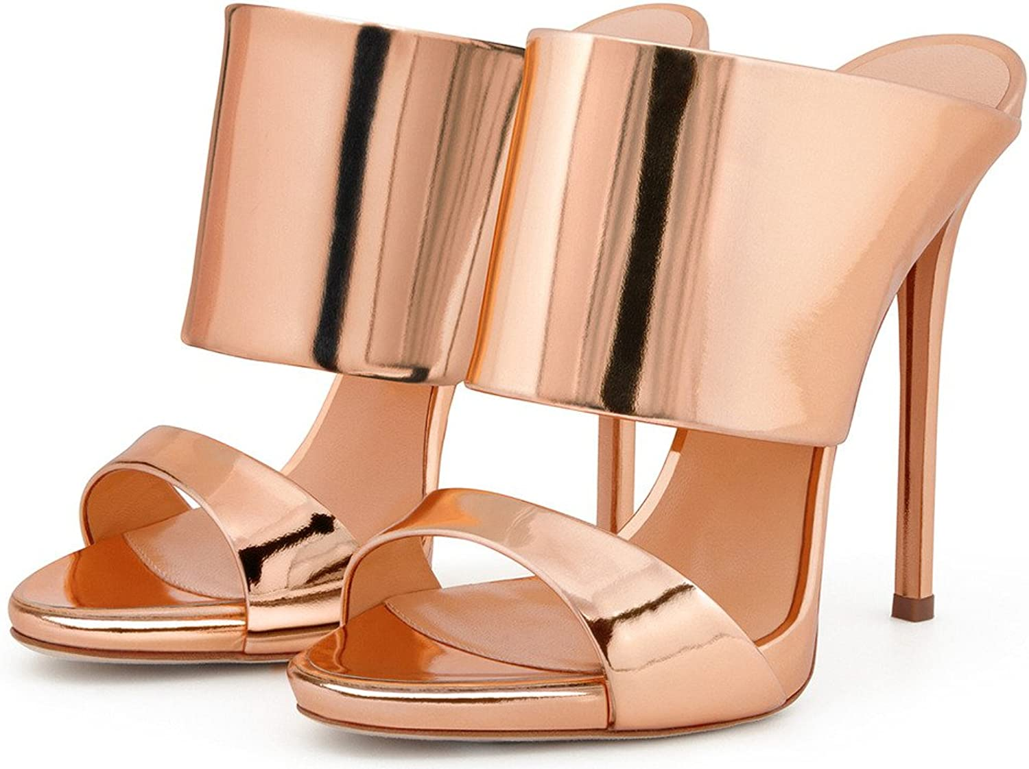 Amy Q Nude Patent Leather Open Toe Back Sling Slip On Stiletto Heel Slides Sandals For Casual shoes
