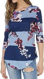 AOJIAN Blouse T Shirt Women Casual Print Floral Three Quarter Sleeve Top 2019