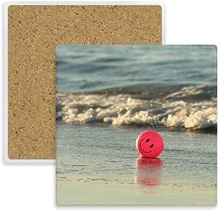 Ocean Sand Playa Smiling Face Emoji Imagen Cuadrado Posavasos Taza Soporte Absorbente Piedra para Bebidas 2pcs