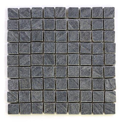 Divero 11 Fliesenmatten Naturstein Mosaikfliesen aus Andesit für Wand und Boden grau á 29 x 29 cm