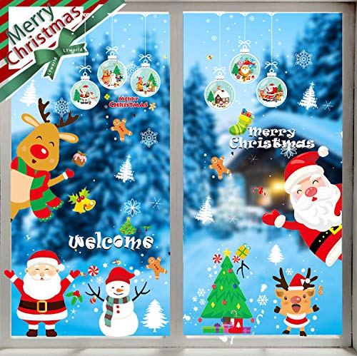 LYworld Navidad Pegatina de Pared Tienda De Ventana Pegatinas De Pared Árbol de Navidad Santa Claus Duende Regalo...
