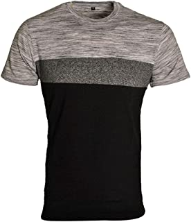 Raiken Short Sleeve Mesh Stripes Block T-Shirt - Black