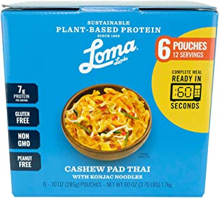Loma Linda Blue - Plant-Based Complete Meal Solution - Cashew Pad Thai with Konjac Noodles (10 oz.) (Boxed 6 Pack) - Non-GMO, Gluten Free