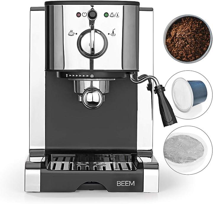 macchina per espresso con portafiltro e inserto per capsule nespresso beem espresso perfect b07p74w3fk