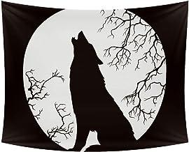 Lorvies Silueta de lobo aullando Luna Llena Tapiz para colgar en la pared del hogar, decoración para la sala de estar, dormitorio, 90 x 60 pulgadas, poliéster, multicolor, 90x60 in