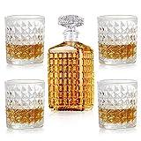 New rui cheng Vaso de Whisky Decantadores de Licor de Cristal Botella de Copas de Cóctel de Vino Juego de Decantador de Whisky Sin Plomo 5 Garrafa de Garrafa Grabada para Beber Brandy de Bourbon