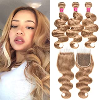 INSTASTYLE Brazilian Honey Blonde Body Wave Remy Hair 3 Bundles With Closure Color #27 Blonde Body Wave Human Hair Bundles With 4X4 Lace Closure Pure Color 27#(20