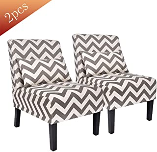 Contemporary Upholstered Armless Accent Chair with Lumbar Pillow, Wood Leg Living Room Chair Set of 2 (Grey Chevron)