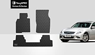 ToughPRO Floor Mats Set (Front Row + 2nd Row) Compatible with Infiniti G37 (Sedan Only) - All Weather - Heavy Duty - (Made in USA) - Black Rubber - 2008, 2009, 2010, 2011, 2012, 2013
