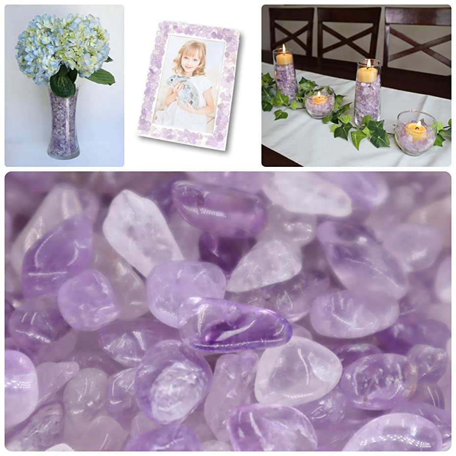 NatureWonders Amethyst Quartz Crystal Tumbled Chips (4 Cups) All Natural Crystals for Vase Fillers, Candle Holder Fillers, Table Decorations, Centerpieces, Aquarium, Crafts - Smooth, Polished Surface