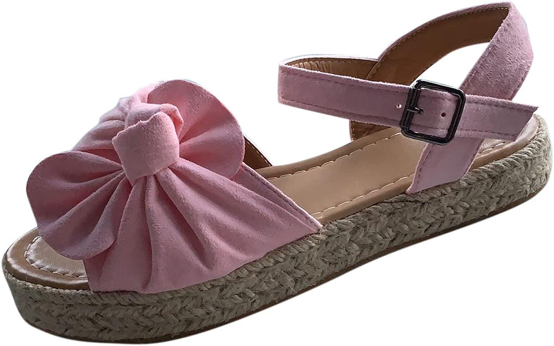 Women's Fish Mouth Sandals Large Size Bowknot Buckle Shoes Platf