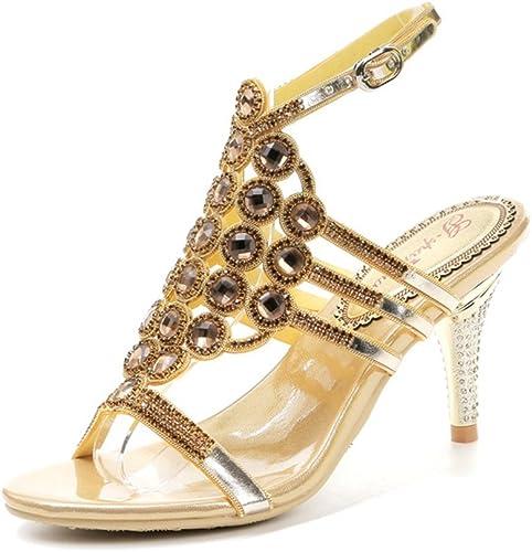 zapatos de mujer New Spring Summer Rhinestone de Microfibra Sandalias Comfort High Heels Punta Estrecha para Fiesta al Aire Libre