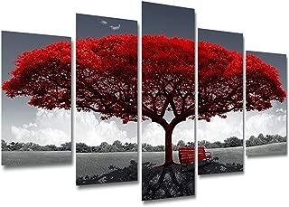 Impresiones de lienzo enmarcado de 5 piezas, Cuadro rojo grande del paisaje del árbol, Impresiones Modernas Pinturas Ilustraciones sobre lienzo Arte de pared listo para decoración de hogar y oficina,C