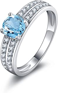 925 Sterling Silver Rings for Women Promise Rings Engraved 6MM Blue Topaz Ring Round Anniversary Ring Bands