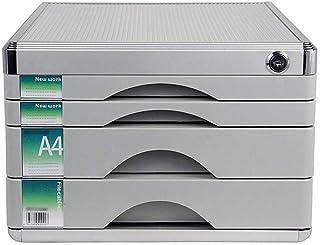 KANJJ-YU Tiroir trieuses, bureau de bureau Tiroir Armoire de table 4 couches de données verrouillables en alliage d'alumin...