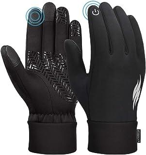 Unisex vinterhandskar pekskärm vindtäta termiska halkfria handskar svart och grå